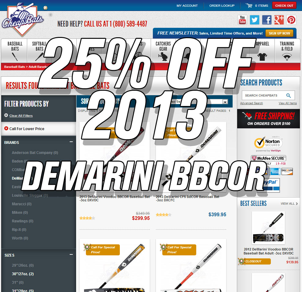 2013 Demarini BBCOR Bats